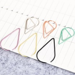 $enCountryForm.capitalKeyWord NZ - Wholesale 10 pcs lot Metal Material Water Drop Shape Memo Paper Clips funny bookmark office shool stationery marking clips