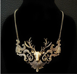 $enCountryForm.capitalKeyWord Canada - Wholesale Retro Bronze Antique Silver Deer Head Fake Collar Men Sweater Chain Necklace Pendant Long Punk Choker Necklace