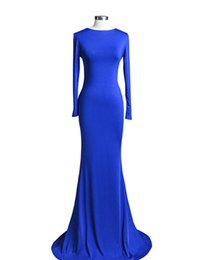 $enCountryForm.capitalKeyWord Canada - Elegant Full Sleeve Formal Dress 2019 Robe de Soiree Sirene Paillette Sexy Backless Mermaid Royal Blue Evening Dress Hot Selling