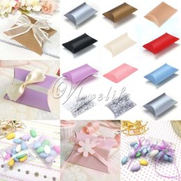 candy boxes pvc 2019 - Wholesale-50pcs lot New Style Pillow Shape Box Candy Box Gift Box for Wedding Party Favor Decor Paperboard   PVC  Brown