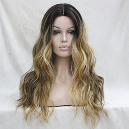 long lace wig cuts UK - Do Not Cut Lace Front! Hot Quality Ombre Darkest Brown Mix Golden Blonde Wavy Small lace front long Wig