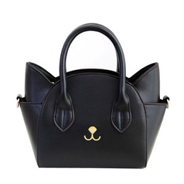 Black leather cat purse online shopping - 2017 Fashion New Style Mini Super Cute Cat Pattern Pu Leather Tote Handbags Crossbody Purse for Women girls