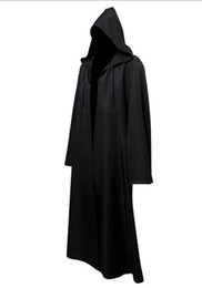 Costume De Noël À Capuche Pas Cher-New Star Jedi Hooded Robe Cape Cape Costume Hommes adultes Noir Darth Vader Cosplay Costumes Halloween Robe de noel