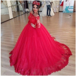 Barato Vestido Vermelho Longo Applique-Off the Shoulder Red Tulle Applique Lace Long Sleeve Vestido de Baile Quinceanera Dresse 16 Years Party For Girls