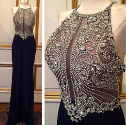 Bling Navy Prom Dress Canada - Sparkly Bling Dark Navy Full Crystal Rhinestones Beaded Top Mermaid Prom Dresses 2017 New Sexy Backless Illusion Bodices Evening Gowns