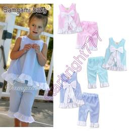 INS Baby Grid Set Enfants Girl Lattice Outfits Pétales Side Big Bow Vest + Pantalons 2 pièces Set bébé vêtements 3 couleurs Livraison gratuite en Solde