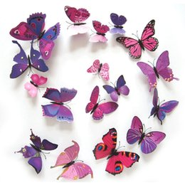 wall stickers multicolor NZ - 12Pcs set Beautiful Art Design 3D Multicolor PVC Magnet Butterflies Wall Sticker For TV Wall Kids Bedroom Wall Home Decoration