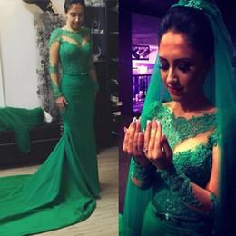 $enCountryForm.capitalKeyWord NZ - Elegant Green Long Sleeve Lace Evening Dresses Plus Size Court Train Long Arabic Evening Gowns Formal Prom Dresses Cheap Vestidos Festa