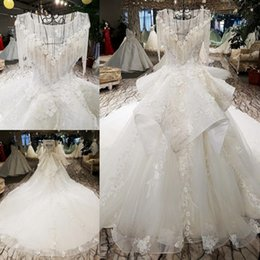 LS66547 luxury wedding dresses o-neck lace up backless crystal appliques ball  gown beading wedding dresses from china real photo 2d9fa062826c