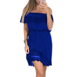 Robe En Mousseline De Soie En Dentelle Pas Cher-Ruffles Lace Chiffon Beach Mini Club Robe Femme sans manches Slash Neck Party Sexy Summer Elastic Waist Vestiaire LX302