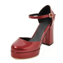 Platform thick high heel gold shoes online shopping - SJJH High chunky heel and thick platform women casual shoes with ankl estrap and rounded toe and large size S145