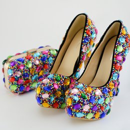 rhinestone bag clutch NZ - Colorful Rhinestone Wedding Bridal Shoes with Clutch Women Party Prom High Heel Shoes with Matching Bag Plus Size 45
