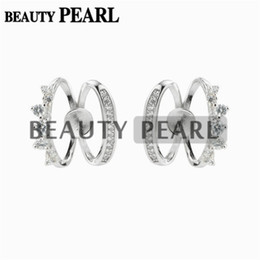 sterling silver earring blanks UK - Stud Earring Jewelry Settings DIY Findings Clear Cubic Zirconia 925 Sterling Silver Blank Base 5 Pairs