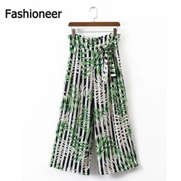 Pantalons De Plage À Larges Jambes Femme Pas Cher-Fashioneer Flare Pants Femmes Printed Floral Pleated Summer Green Long Beach Office Casual High Waist Dance Pantalons Wide Leg Pants