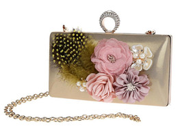chain for handbag strap 2019 - Fashion Elegant Flower Feather Pearl Rhinestone Ring Clutch Banquet Bag Purse Wedding Bridal Handbag Chain strap 7 color