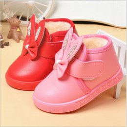 $enCountryForm.capitalKeyWord Canada - 2016 cute bow rabbit head crystal warm thick winter toddler ankle short boots shoes baby girl kids child plush pu rubber hook loop