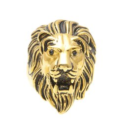 Men Size 15 Rings Australia - Men Stainless steel Ring Hip hop Punk Style Vintage Gold Plated Black Oil Lion Head Rings Jewelry Size 7-15
