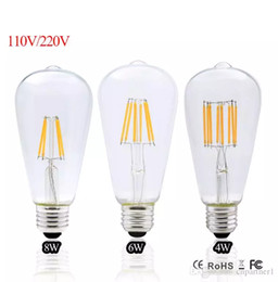 Replacing incandescent bulbs online shopping - 2017 Led Edison Bulb E27 Dimmable Vintage Led Filament W W W ST64 V V Retro Edison Bulbs Led lamp Replace Incandescent Lights