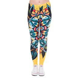 e975536ea57e Women Leggings Tattoo Flower 3D Graphic Print Girl Floral Skinny Stretchy  Yoga Wear Pants Sport Workout Full Length Yellow Trousers (J41607)