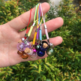 $enCountryForm.capitalKeyWord Canada - Bottles Lamp Pendants Mini Bell Bracelets Bottles with Key Chains Rubber Ring Jars Glass Pendants Wedding Gift Mixed Colors 7pcs
