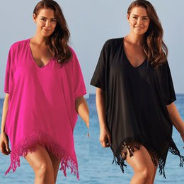 Bikinis De Vacances Sexy Pas Cher-Women Sexy Plus Size 4XL Tassel Bikini Cover Up Fringe Beach Dress Maillot de bain Holiday Beach Wear