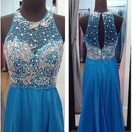 Barato Vestidos Vintage Rápido-Fast Shipping Unique Rhinestone azul Long Evening Dresses 2017 Moda Sheer Back A-Line Chiffon Evening Party Gowns