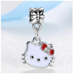 f700aaeb9 Wholesale 30pcs Silver Bead Charm Hello Kitty Dangle Enamel Charms Fit  Women Pandora Bracelets Snake Chain Necklace & Bangles DIY Jewelry