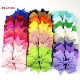 Solid boutique Style hair bowS online shopping - 80pcs Inch Bows for Hair Solid Girls Hair Bows Jojo Siwa Style Baby Bows for Sales Boutique Ribbon Hair Accessories Handmade