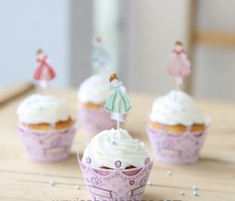 $enCountryForm.capitalKeyWord Australia - Dancing Girl Muffin cupcake wrappers and toppers for kids birthday party decorations cupcake picks toppers bulk 24pcs lot