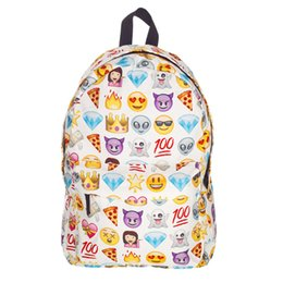 Discount laptop children - Wholesale- Women Emoji Printing School Bags Children Canvas Backpacks For Teenager Girls Casual Laptop Backpack Kids Boo