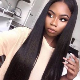 Glueless Wig Braids For Canada - Brazilian Virgin Straight Full Lace Wig Human Hair With Baby Hair Can Be Braided Glueless Full Lace Wig For Black Woman