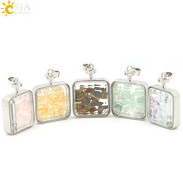 $enCountryForm.capitalKeyWord Canada - CSJA 1pcs Rose Quartz Citrine Tigers Eye Fluorite Natural Stone Beads Pink Crystal with Cute Fairy Clear Glass Wishing Bottles Pendant E043