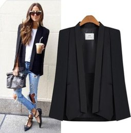 Barato Casaco De Lapis De Mulher S-Mulheres Capa Capa Blazer Poncho Jacket Lapel Split Suit Blazers Shawl Collar Office Ladies Business Outwear New Fashion Coat