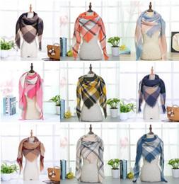 Fashion Scarves Canada - Plaid Blankets Scarves Triangular Tartan Lattice Scarf Grid Scarf Wrap Fashion Neckerchief Winter Shawl Checked Pashmina 40 Design