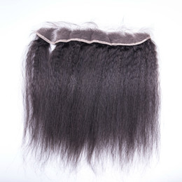 Discount lace frontal closure 13x2 - 13x2 inch Brazilian Human Hair Kinky Straight lace frontal Lace Frontal Closure with baby hair bleached knots in stock