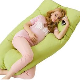 Venta al por mayor de Almohadas para el cuerpo Sleeping Pregnancy Pillow Belly Contoured Maternity U en forma de cubierta extraíble 130 * 70 cm Envío gratis