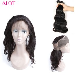 wholesale brazilian virgin hair NZ - Brazilian Virgin Hair 360 closures with body wave bundles 3pcs Brazilian Human Hair Weave with 360 Lace Frontal