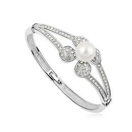 swarovski elements crystal bracelets women 2019 - Brand for Women Austria Crystal Pearl Bangles Bracelets Rings Prom Jewelry Made with Swarovski Elements 18K White Gold F