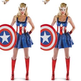 captain america woman costume 2019 - Captain America Super Heroes Bodysuits Cosplay Halloween Adult Female The Avengers Zentai Teddies Dresses Performance Co