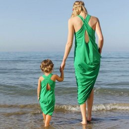 mother daughter evening dresses Australia - Mother Daughter Dress Clothes Baby Oufits Long Evening Sleeveless green Sandy Beach Dress Holiday Summer Family Matching Clothing