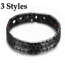 magnet bio NZ - 3 Styles Magnetic Bracelet for Men Black Health Energy Bio Magnet Therapy Germanium Stainless Steel Bracelets Bangle Unisex Jewelry B814S