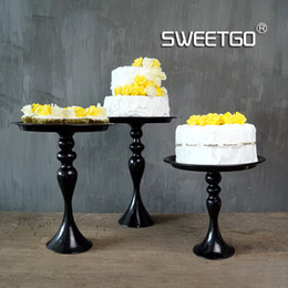 Tiers En Gros Pas Cher-Grossiste-1 Pcs Vintage Vintage Simple Tier Fruits Cakes Desserts Plate Stand pour Wedding Party Cupcake Noir # 1540120