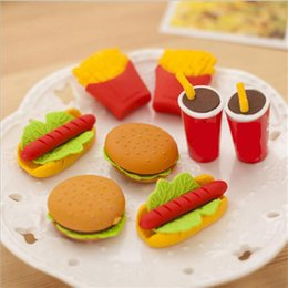 Discount pencil cake - 3D Hamburgar Chips Coka Cola Cakes Food Erasers creative Eraser 3D Rubber Pencil Eraser Christmas Gift Each One With Opp