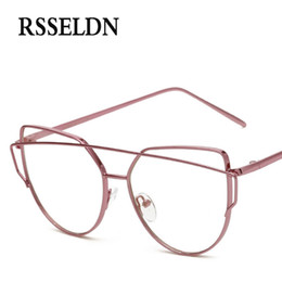 ce08ff49a63b Wholesale- RSSELDN Newest Fashion Women Eyeglasses Frames Brand Designer  Cat Eye Glasses Clear Lens Eyeglasses Men Vintage UV400