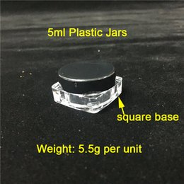 cheap wholesale containers UK - Cheap 5 ml g Black Lids & Square Base Plastic Containers Smoke Jars Wholesale Plastic Wax Containers On Sale Free Shipping To World Wide