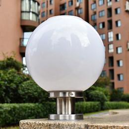 Outdoor Courtyard Pillar Lights Bright Led Solar Pillar Light Ball Shape Landscape Home Fence Lamp