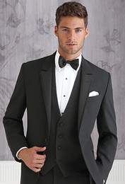Barato Manto Preto Smoking-Tuxedos pretos Slim Fit Ternos para casais masculinos One Button Groom Wear Terno formal barato de três peças (Jacket + Pants + Vest + Bow Tie)