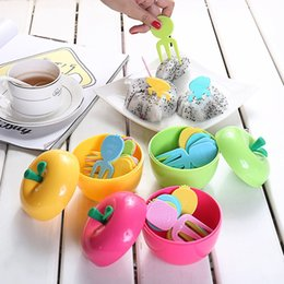 $enCountryForm.capitalKeyWord UK - 15Set Cute Cake Dessert Forks Toothpick ABS Plastic Lovely Tropical With Apple Box Fruit Fork Bento Lunches Party Decor