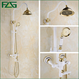 luxury electric showers flg free shipping luxury gold u0026 grilled white painted brass shower faucet