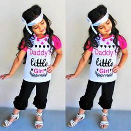 Childrens Camisas Negras Baratos-2017 Girls Childrens Clothing Sets Camisetas de moda Pantalones negros Headbands 3 Unids Set Newest Cotton Girl Kids Boutique Enfant Clothes Outfits
